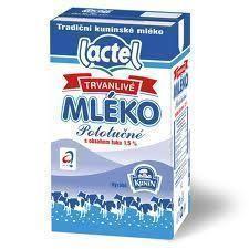 Mléko polotučné trvanlivé 1,5%1l